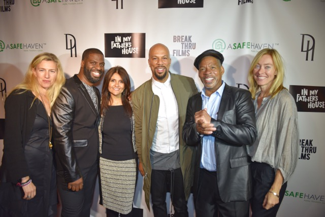 BreakThru Films' directors and producers Rikki Stern and Annie Sunberg pictured with Rhymefest, Common, and Rhymefest' father Brian Tillman subject of the film. Photo Credit: Juan Anthony Images