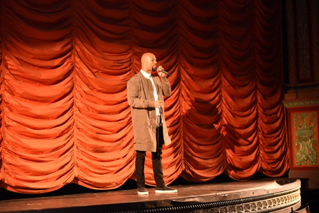 Common opening the VIP screening at the Music Box Theater in Chicago, IL.